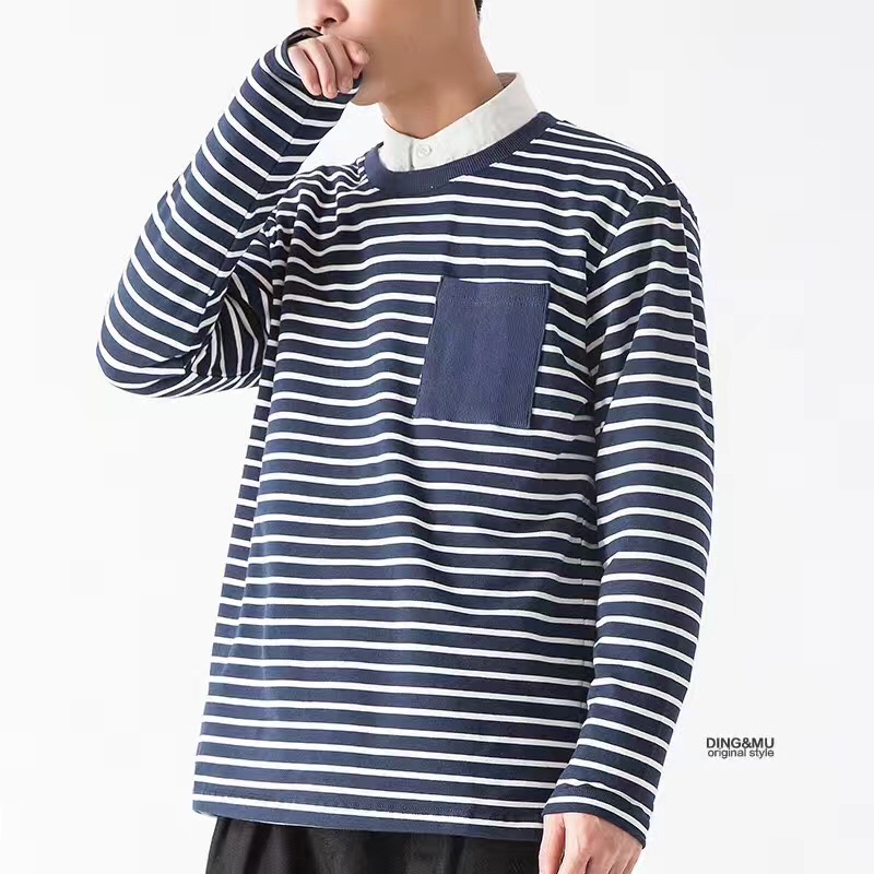 men round neck stripe sweatshirts