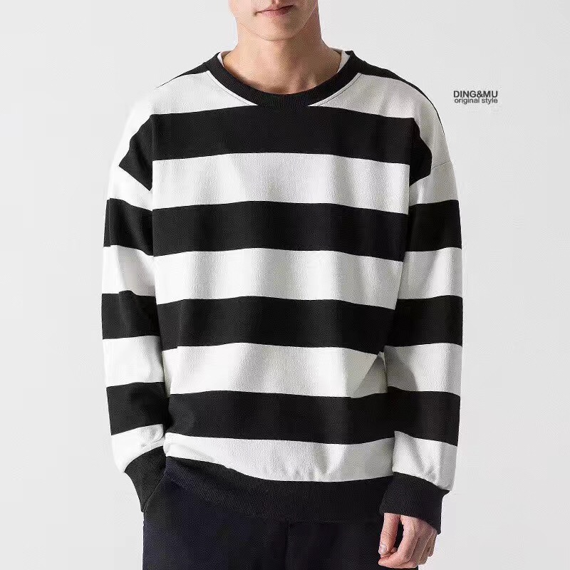 mens fashion stripe sweatshirts top clothing